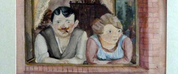 """sta foto folleto proporcionado por el arte perdido Koordinierungsstelle Magdeburgo, la agencia gubernamental alemana encargada de documentar y determinar el origen de las obras de arte apropiados por los nazis entre 1933 y 1945, muestra la obra """"Hombre y mujer en una ventana 'por Wilhelm Lachnit el 18 de noviembre de 2013 en Berlín, Alemania. El trabajo es uno de 25 que aparece en la página web de arte perdido y entre los cerca de 1.400 obras autoridades alemanas confiscaron la residencia de Munich de Cornelius Gurlitt, hijo de   Folleto via Getty Images"""
