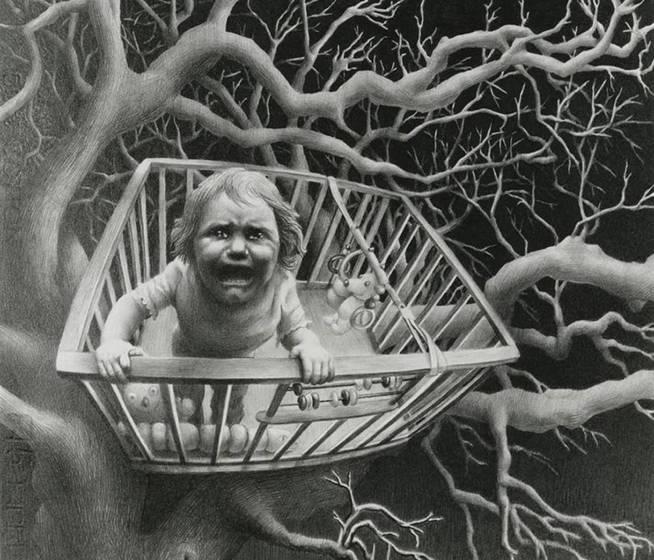 'When the bough breaks', Laurie Lipton, 1989.