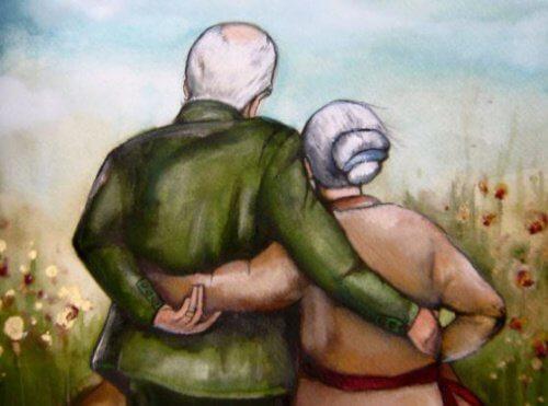 Abuelos abrazados