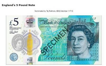 El de 5 libras de Inglaterra.