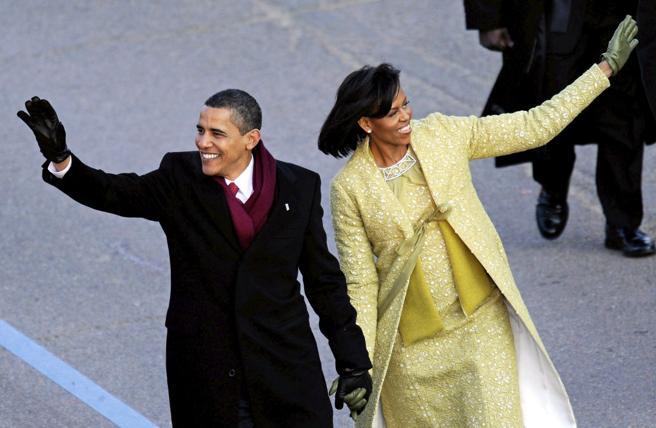 Fotografía del 20 de enero de 2009 del presidente de EEUU, Barack Obama, y la primera dama, Michelle Obama antes del desfile inaugural tras la toma de posesión como el 44 presidente de la nación, en el Capitolio de Washington, DC (EEUU).