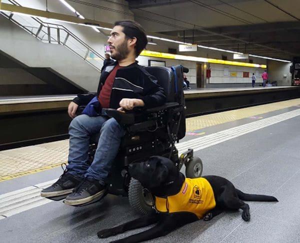 Juan Ignacio junto a Oreo, su perra de asistencia. (Metrovias)