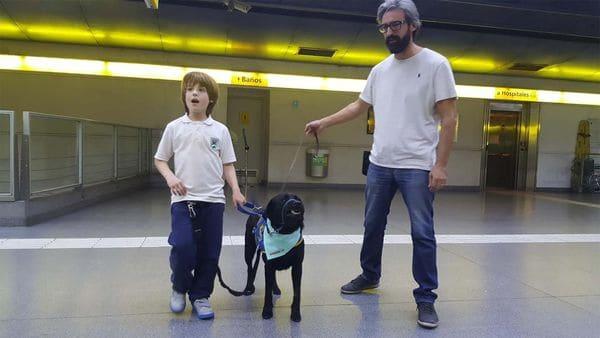Juan Ignacio y otros dos niños con TEA viajaron por primera vez en subte juntos a sus perros de asistencia. (Metrovias)
