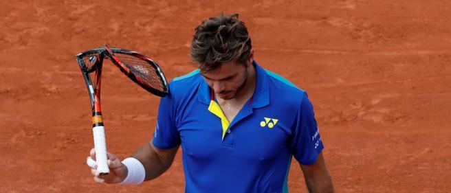 La raqueta rota de un desesperado Stan Wawrinka