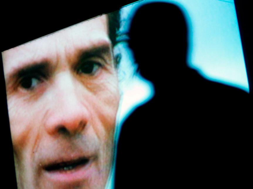 El rostro de Pasolini, proyectado sobre el auditorio de Roma con motivo del 20 aniversario de su muerte en 2005.