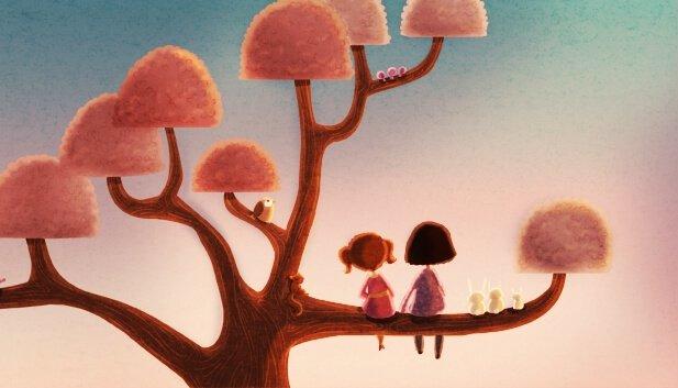 niñas sentadas en la rama de un árbol huyendo de la familia