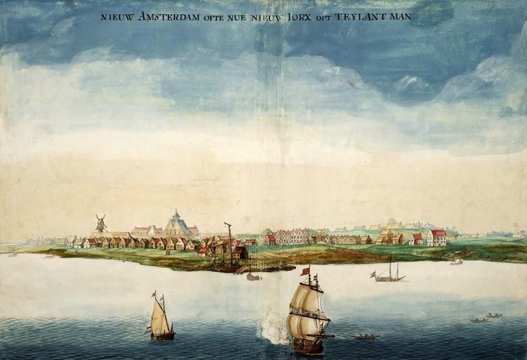 Nueva Amsterdam, la futura Nueva York (cuadro de Johannes Vingboons, 1664)