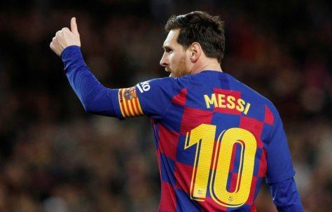El delantero argentino del Barcelona Lionel Messi celebra su gol ante la Real Sociedad en partdio de La Liga celebrado en el Camp Nou, Barcelona, España. 7 marzo 2020. REUTERS/Albert Gea
