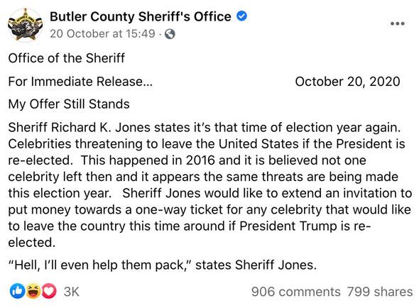 El sheriff del condado de Butler, Richard K Jones, publicó un comunicado de prensa en Facebook.