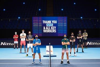 Los singlistas del Masters de Londres en un año inusual por el Covid-19: Schwartzman, Zverev, Medvedev, Djokovic, Nadal, Thiem, Tsitsipas y Rublev.
