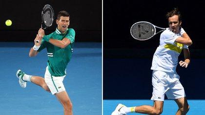 Novak Djokovic y Daniil Medvedev se enfrentan en la final del Australian Open (Foto: AFP)