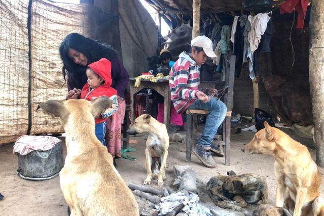 Gabriela Aparicio desayuna mate cocido y pan con sus hijos, en la comunidad La Paloma, en Hickman, Salta